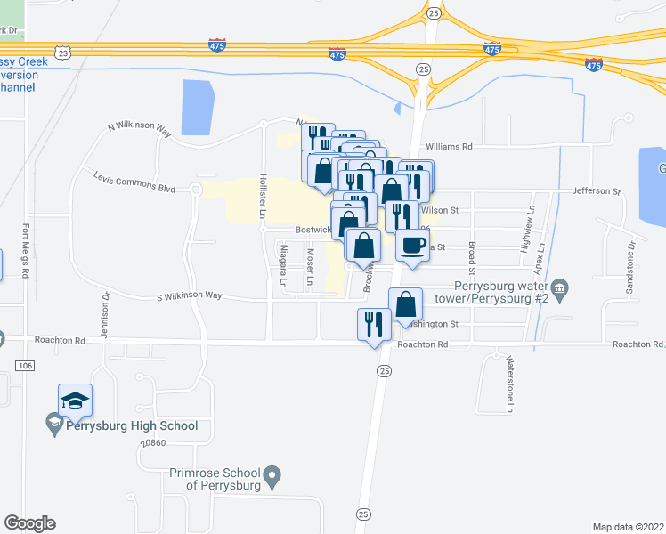 map of restaurants, bars, coffee shops, grocery stores, and more near 5101 Hollenbeck Drive in Perrysburg