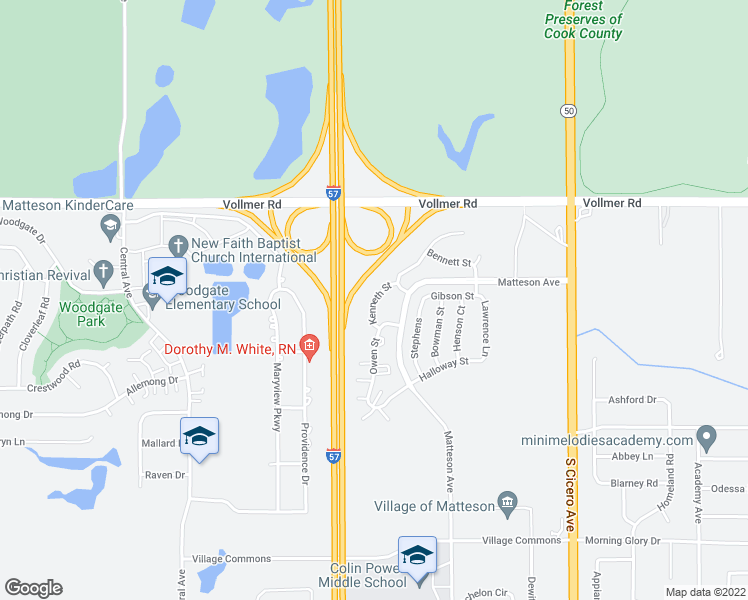 map of restaurants, bars, coffee shops, grocery stores, and more near Kenneth St in Matteson