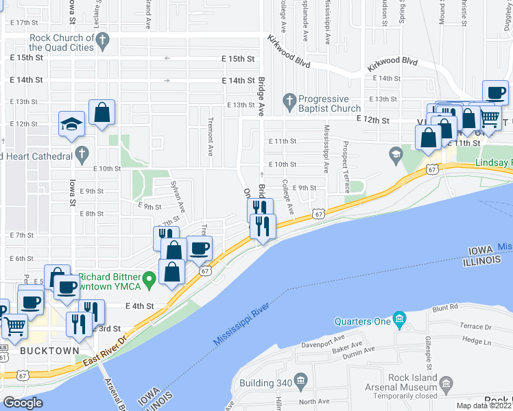 map of restaurants, bars, coffee shops, grocery stores, and more near 802 Bridge Avenue in Davenport