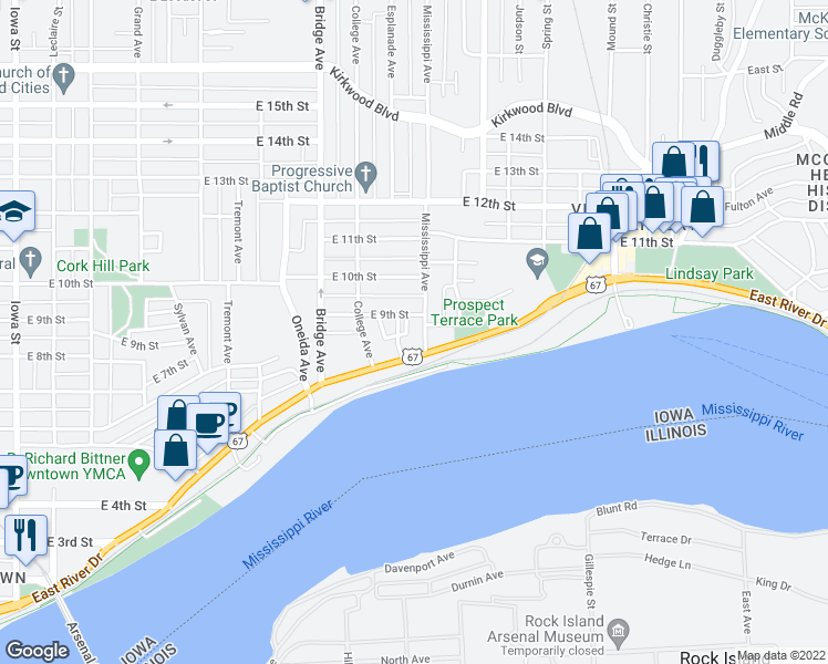 map of restaurants, bars, coffee shops, grocery stores, and more near 822 Mississippi Avenue in Davenport