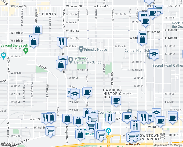 map of restaurants, bars, coffee shops, grocery stores, and more near 920 West 9 1/2 Street in Davenport