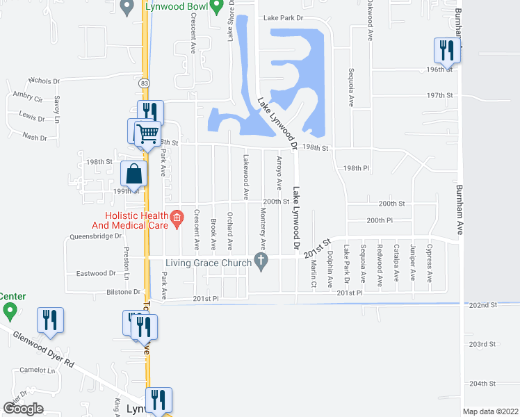 map of restaurants, bars, coffee shops, grocery stores, and more near 20006 Monterey Avenue in Lynwood