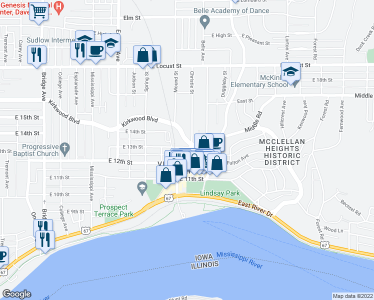 map of restaurants, bars, coffee shops, grocery stores, and more near 1228 Christie Street in Davenport