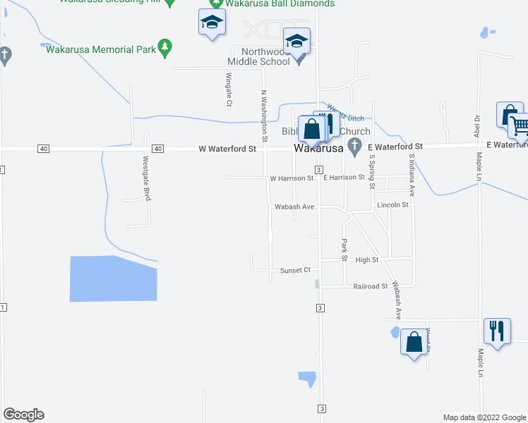 map of restaurants, bars, coffee shops, grocery stores, and more near 305 South Washington Street in Wakarusa