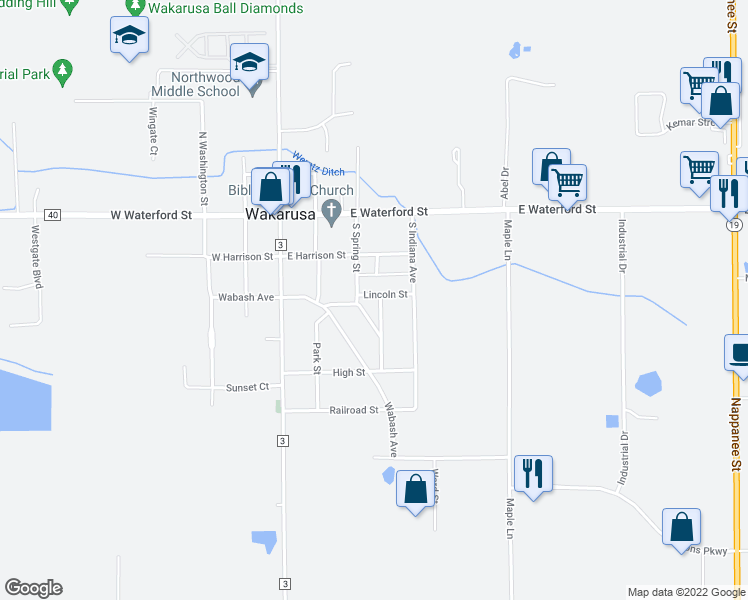 map of restaurants, bars, coffee shops, grocery stores, and more near 305 Lincoln St in Wakarusa