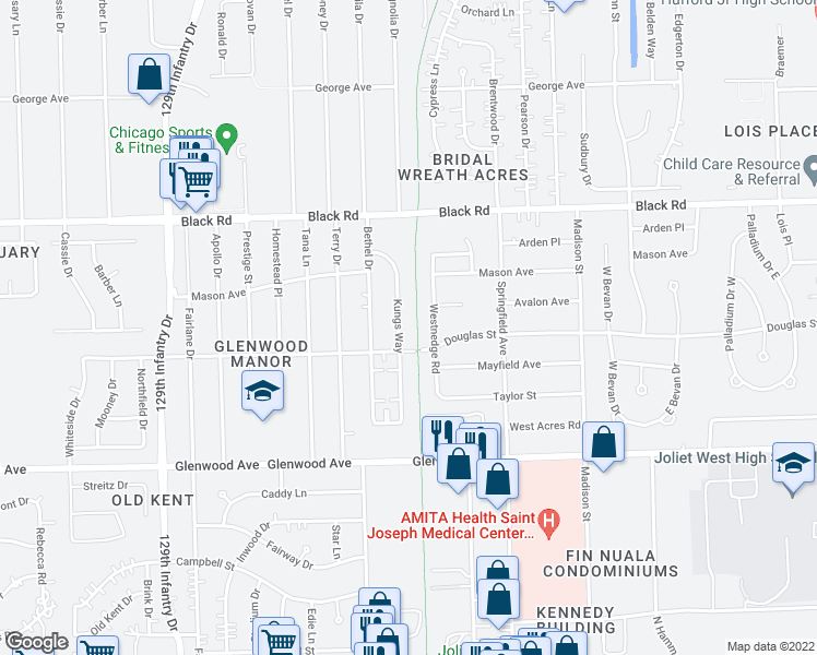 map of restaurants, bars, coffee shops, grocery stores, and more near 608 Kungs Way in Joliet