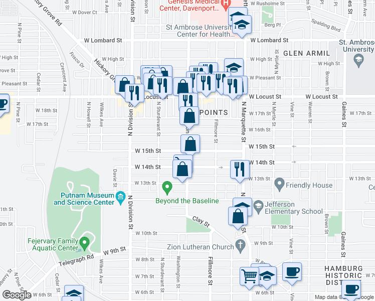 Davenport Washington Map.Washington St W 15th St Davenport Ia Walk Score