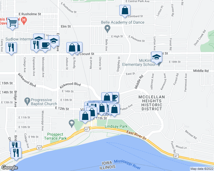 map of restaurants, bars, coffee shops, grocery stores, and more near 1428 1/2 Belle Avenue in Davenport