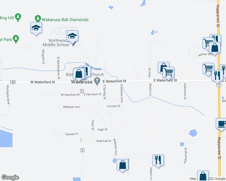 map of restaurants, bars, coffee shops, grocery stores, and more near 308 East Harrison Street in Wakarusa