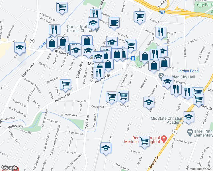 map of restaurants, bars, coffee shops, grocery stores, and more near 76 Butler Street in Meriden