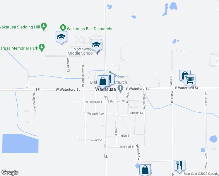 map of restaurants, bars, coffee shops, grocery stores, and more near 112 East Waterford Street in Wakarusa