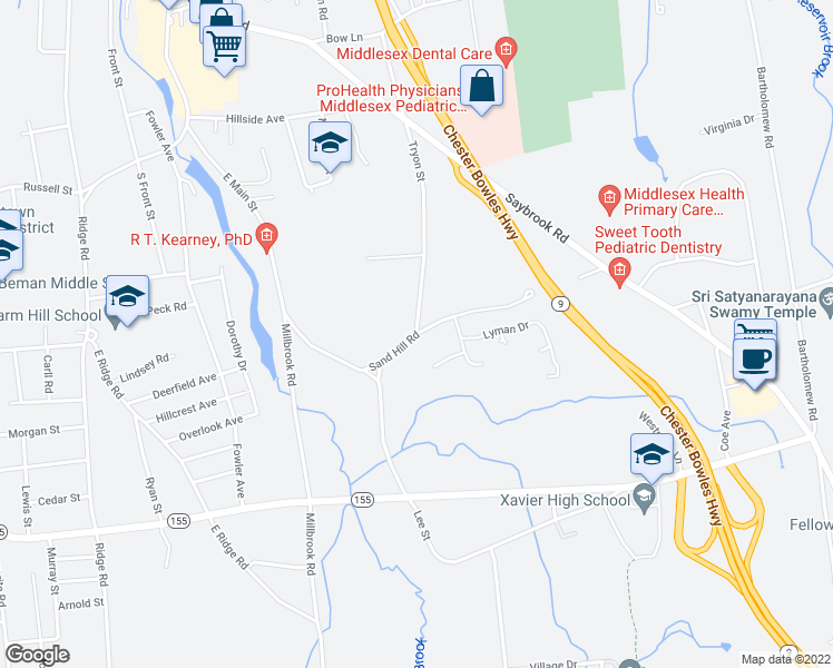 map of restaurants, bars, coffee shops, grocery stores, and more near Sand Hill Road in Middletown
