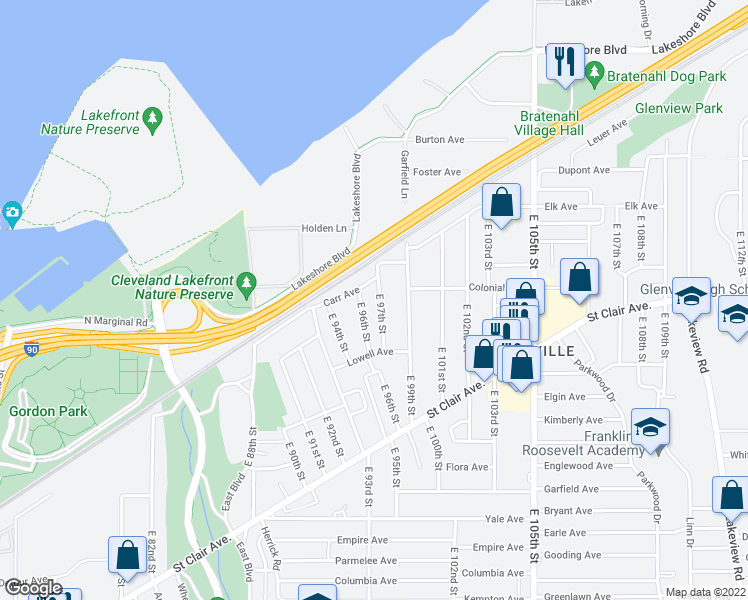 map of restaurants, bars, coffee shops, grocery stores, and more near 618 East 97th Street in Cleveland