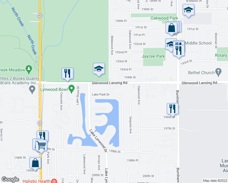map of restaurants, bars, coffee shops, grocery stores, and more near 2808 Lake Park Drive in Lynwood