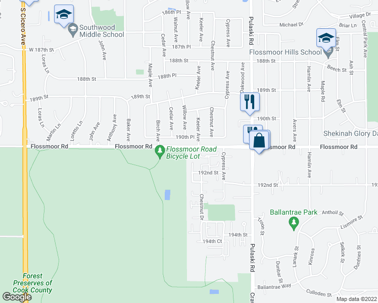 map of restaurants, bars, coffee shops, grocery stores, and more near 4148 193rd Street in Country Club Hills