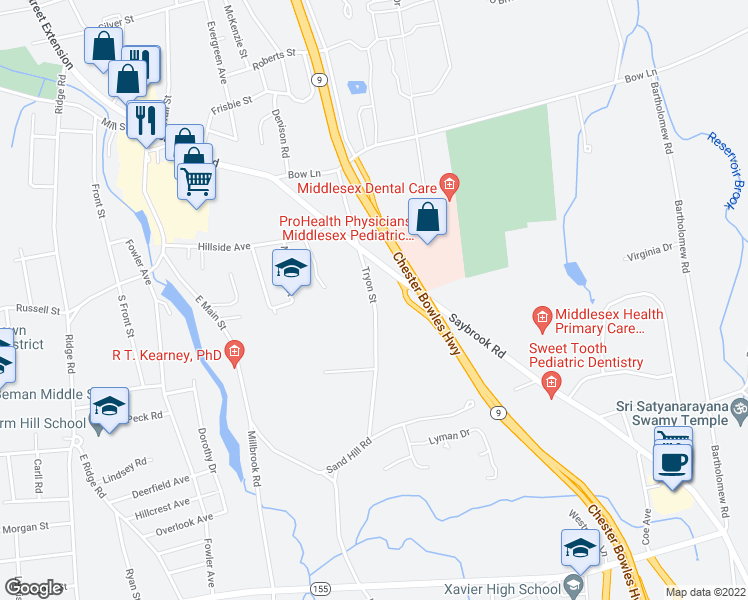 map of restaurants, bars, coffee shops, grocery stores, and more near Tryon Street in Middletown