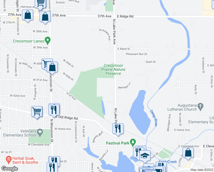 map of restaurants, bars, coffee shops, grocery stores, and more near 400 North Lake Park Avenue in Hobart