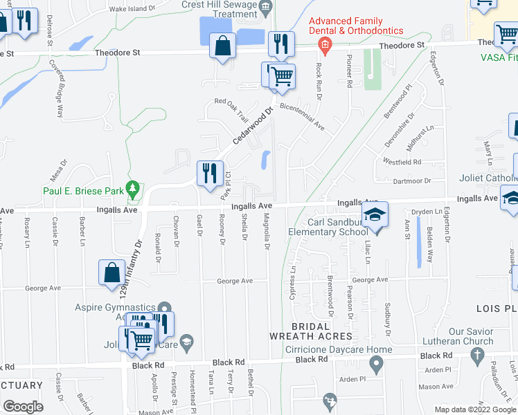 map of restaurants, bars, coffee shops, grocery stores, and more near 2407 Ingalls Avenue in Crest Hill