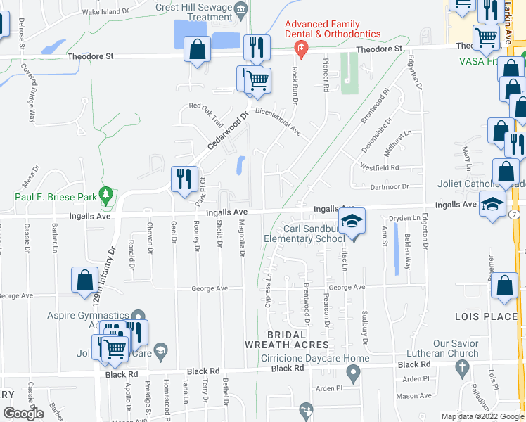 map of restaurants, bars, coffee shops, grocery stores, and more near 2400-2424 Ingalls Avenue in Crest Hill