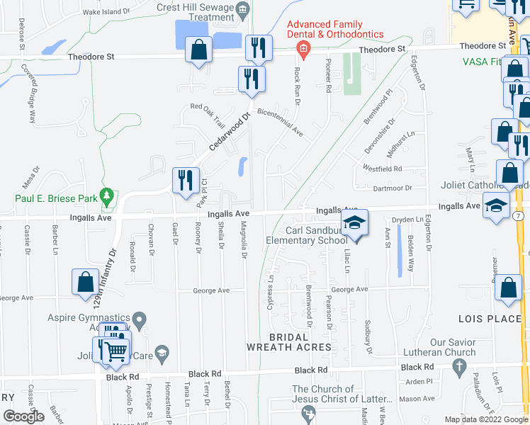 map of restaurants, bars, coffee shops, grocery stores, and more near 2401 Ingalls Avenue in Crest Hill