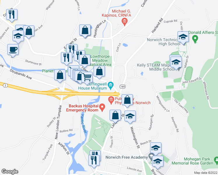 map of restaurants, bars, coffee shops, grocery stores, and more near 2 Town Street in Norwich