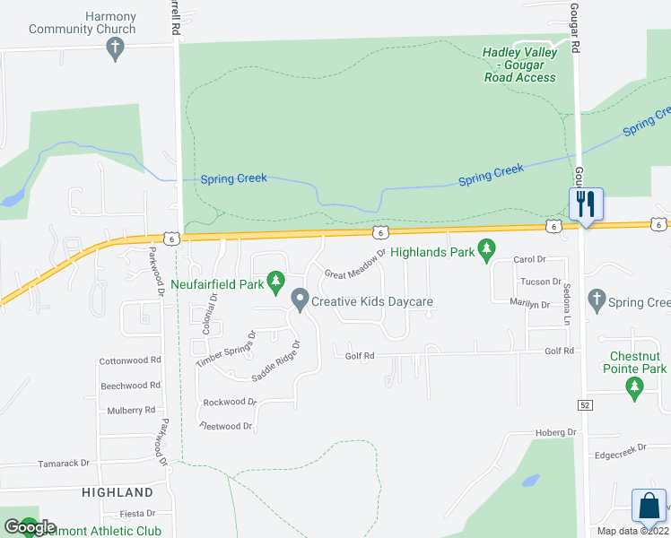 map of restaurants, bars, coffee shops, grocery stores, and more near 2703 Great Meadow Drive in Joliet