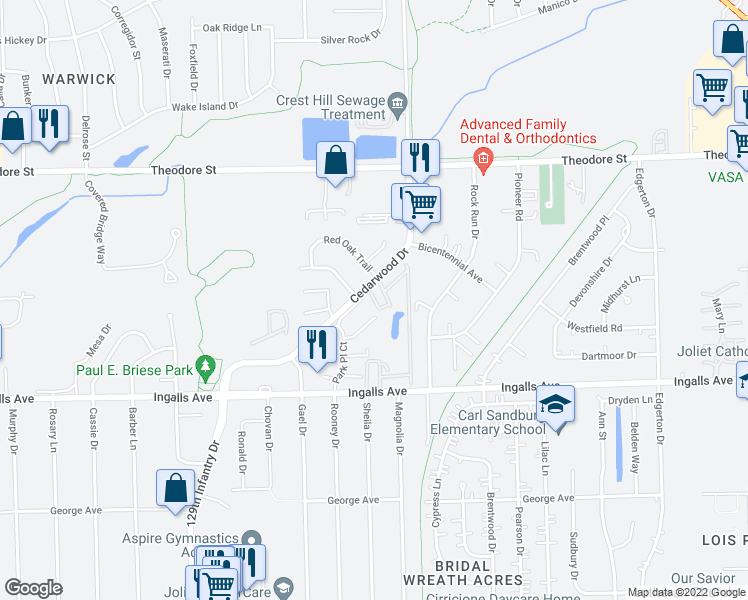 map of restaurants, bars, coffee shops, grocery stores, and more near 1306-1322 Cedarwood Drive in Crest Hill