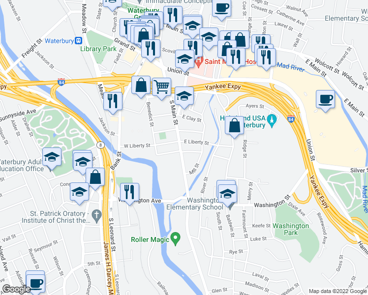 map of restaurants, bars, coffee shops, grocery stores, and more near 619 South Main Street in Waterbury