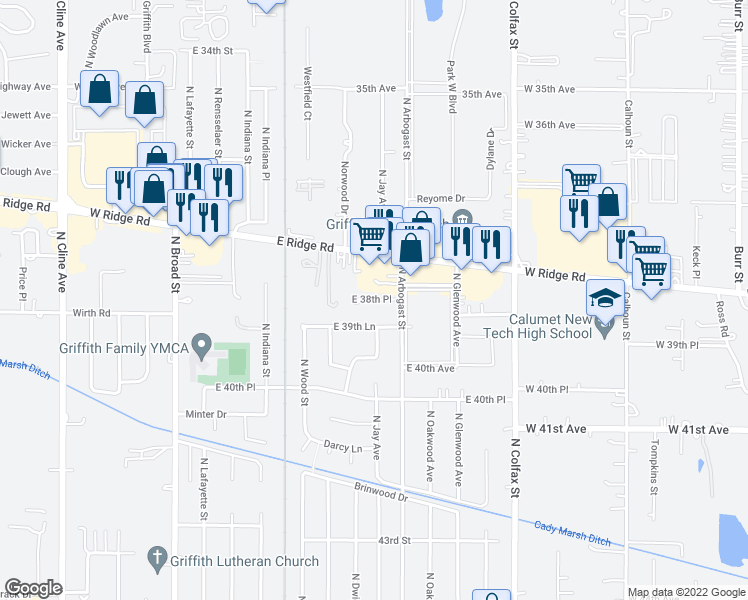map of restaurants, bars, coffee shops, grocery stores, and more near 809 East 38th Place in Griffith