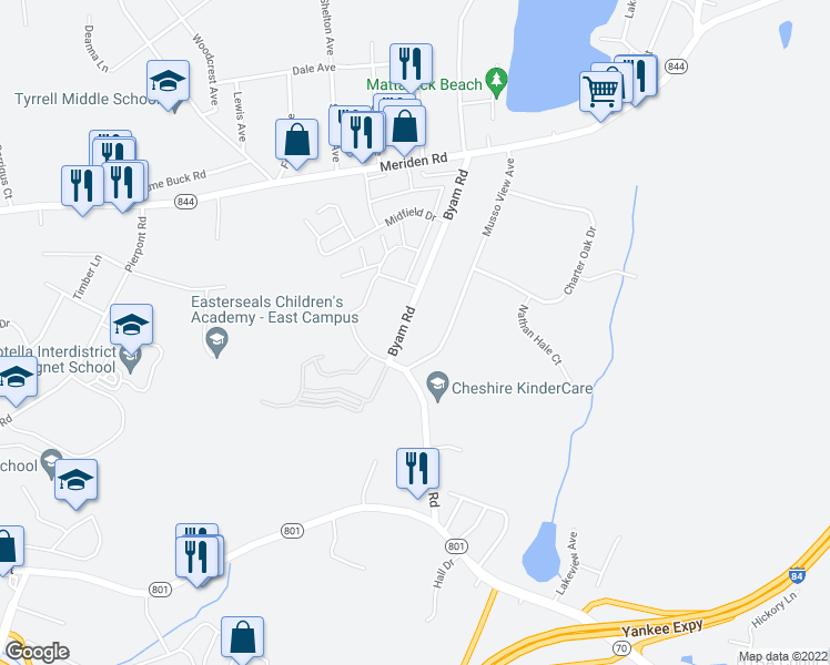 map of restaurants, bars, coffee shops, grocery stores, and more near 1640 Byam Road in Cheshire