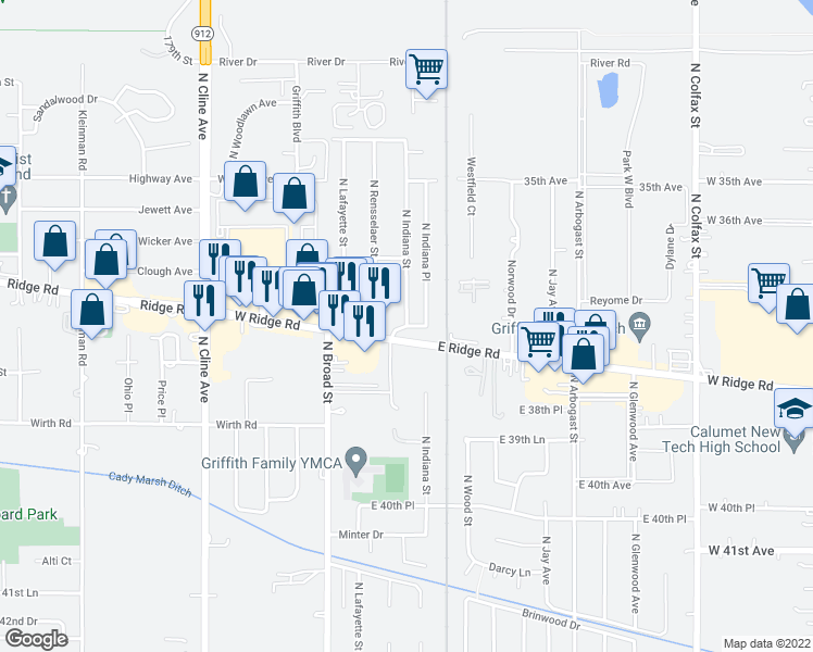 map of restaurants, bars, coffee shops, grocery stores, and more near Indiana Street in Griffith