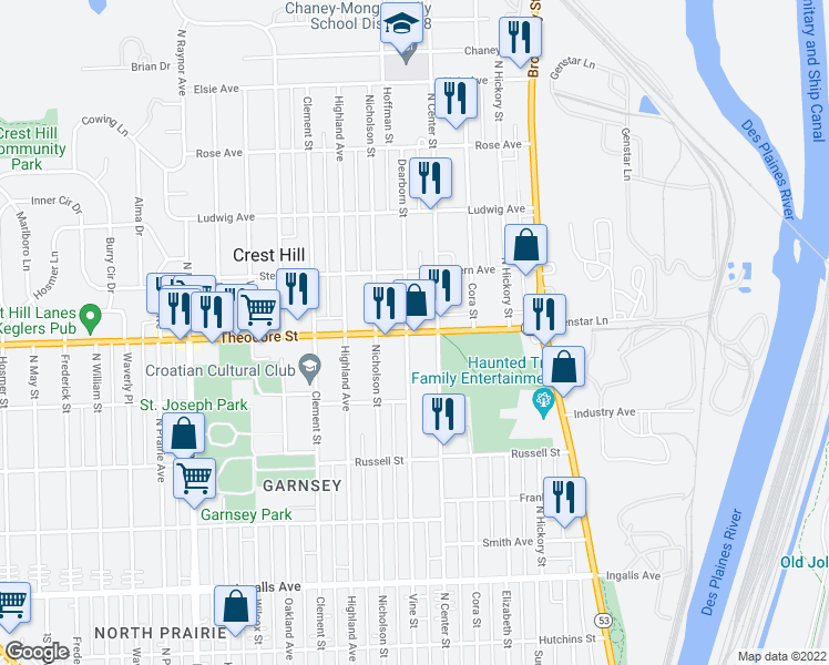 map of restaurants, bars, coffee shops, grocery stores, and more near 412 Theodore Street in Joliet