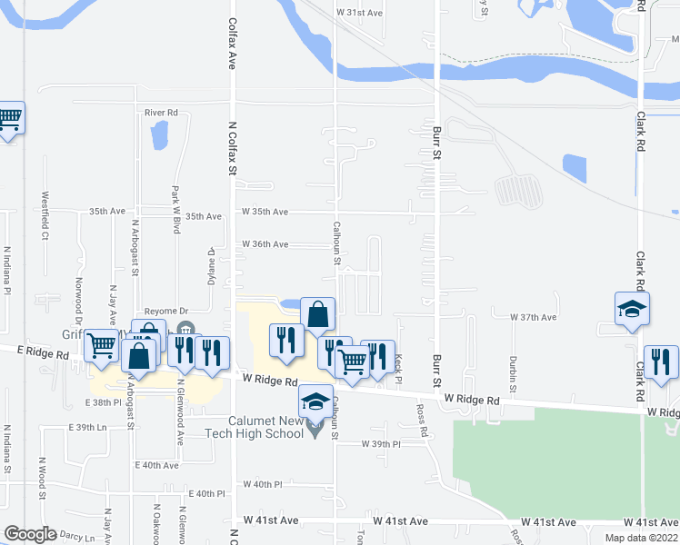 map of restaurants, bars, coffee shops, grocery stores, and more near 3625 Calhoun Street in Gary
