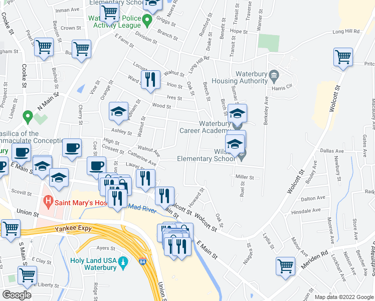 map of restaurants, bars, coffee shops, grocery stores, and more near 86 Shelley Street in Waterbury