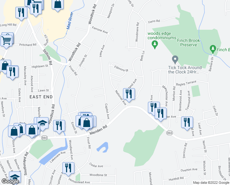 map of restaurants, bars, coffee shops, grocery stores, and more near 97 National Avenue in Waterbury