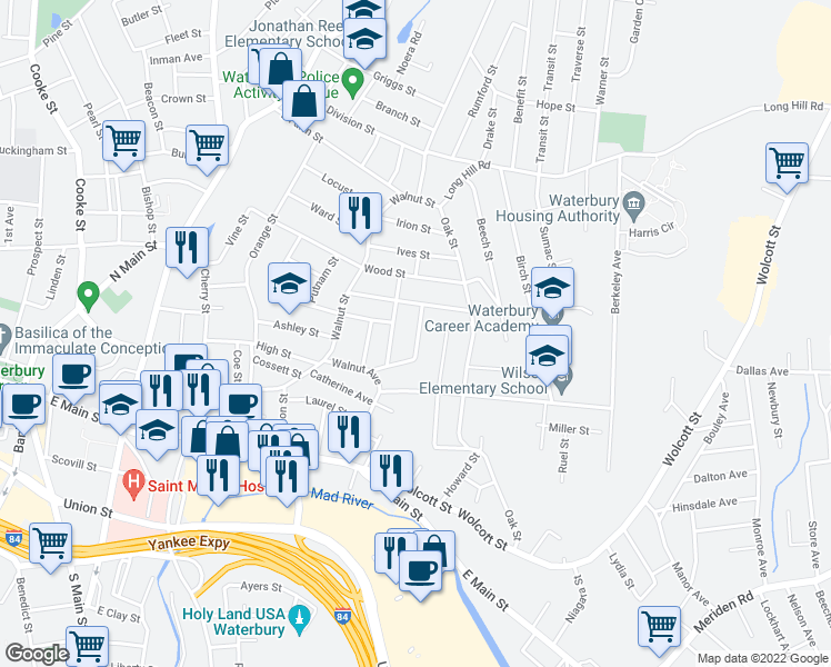 map of restaurants, bars, coffee shops, grocery stores, and more near 83 Giles Street in Waterbury