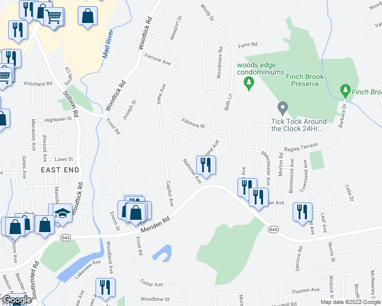 map of restaurants, bars, coffee shops, grocery stores, and more near 22 Coral Drive in Waterbury