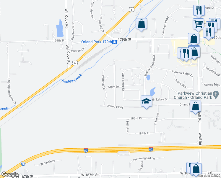 map of restaurants, bars, coffee shops, grocery stores, and more near 11725 Mgm Drive in Orland Park