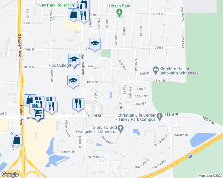 map of restaurants, bars, coffee shops, grocery stores, and more near 18134 66th Court in Tinley Park