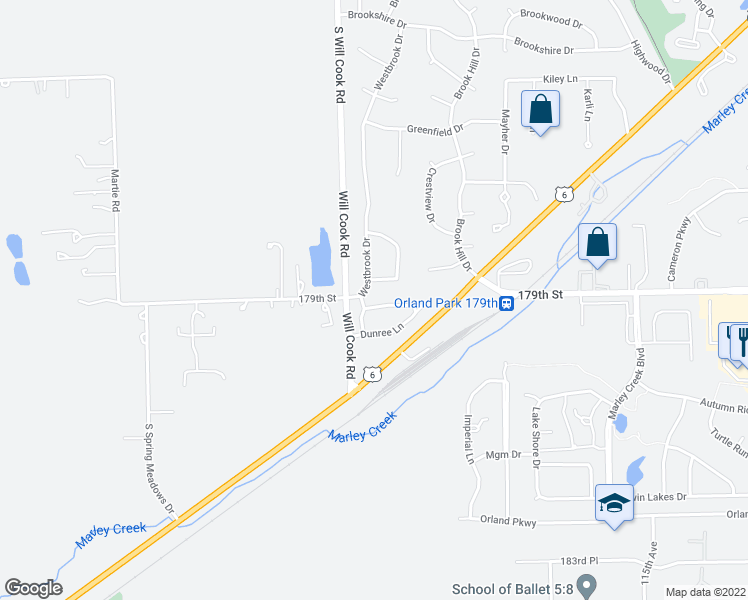 map of restaurants, bars, coffee shops, grocery stores, and more near 11922 Cormoy Lane in Orland Park