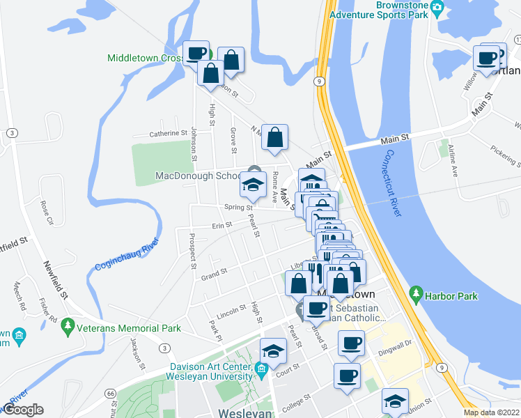 map of restaurants, bars, coffee shops, grocery stores, and more near 53 Spring St in Middletown