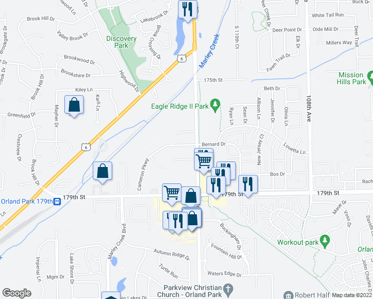 map of restaurants, bars, coffee shops, grocery stores, and more near 11207 Cameron Parkway in Orland Park
