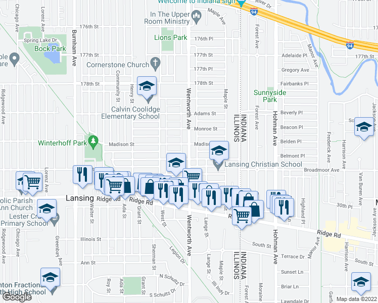 map of restaurants, bars, coffee shops, grocery stores, and more near 18003 Wentworth Avenue in Lansing