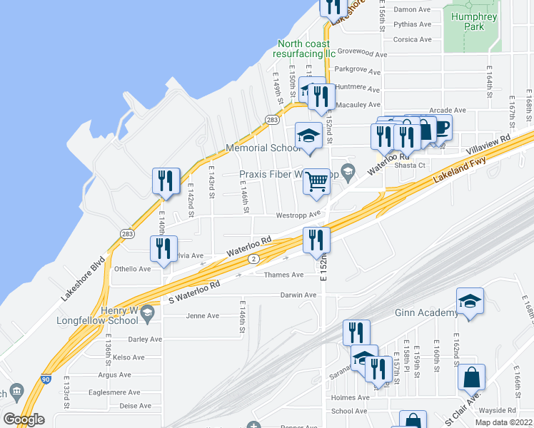 map of restaurants, bars, coffee shops, grocery stores, and more near 14717 Hale Avenue in Cleveland