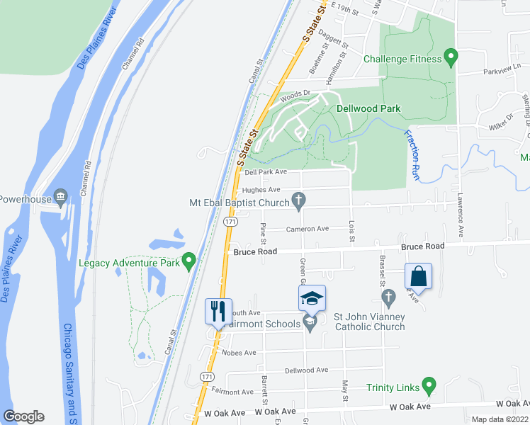 map of restaurants, bars, coffee shops, grocery stores, and more near 300 Pine Street in Lockport