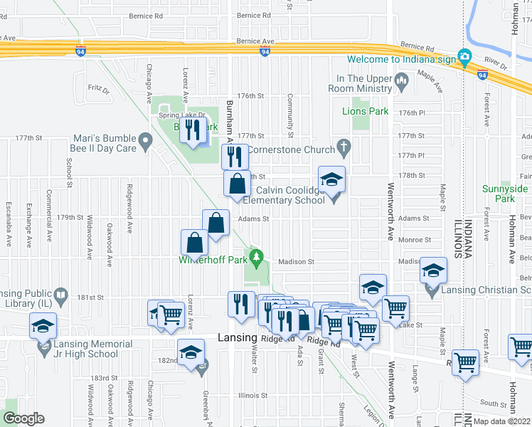 map of restaurants, bars, coffee shops, grocery stores, and more near 17858 Roy Street in Lansing