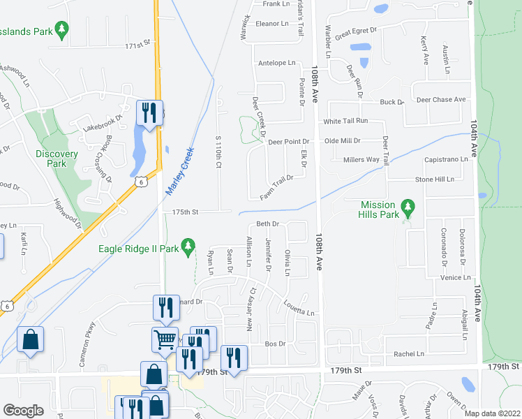 map of restaurants, bars, coffee shops, grocery stores, and more near in Orland Park