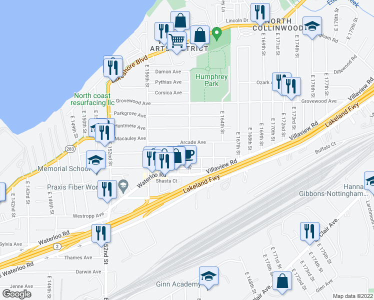 map of restaurants, bars, coffee shops, grocery stores, and more near 360 East 161st Street in Cleveland