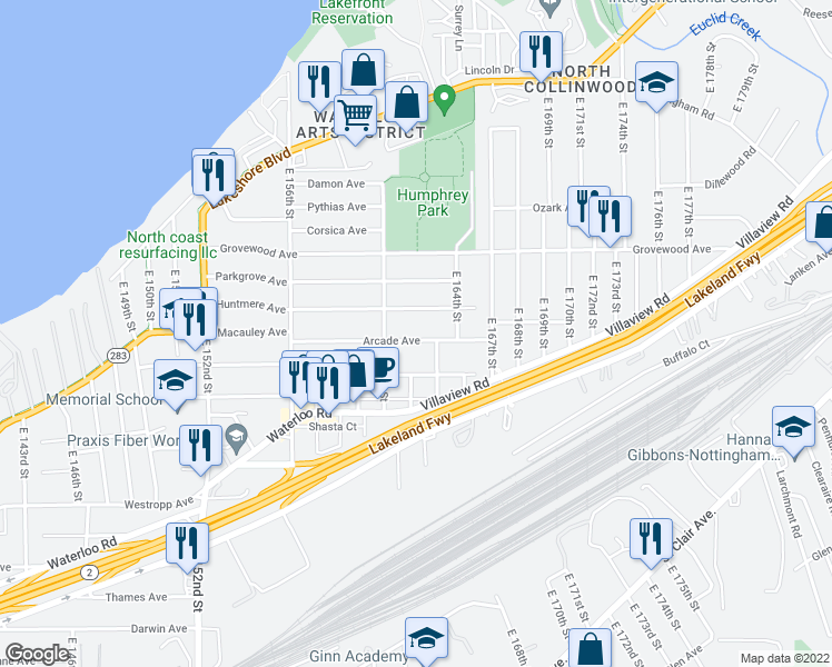 map of restaurants, bars, coffee shops, grocery stores, and more near 16205 Arcade Avenue in Cleveland