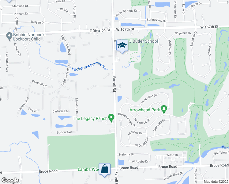 map of restaurants, bars, coffee shops, grocery stores, and more near South Farrell Road in Lockport